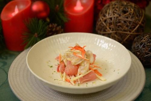 Filipino Salad Recipe -Ubod and Pomelos with Shrimp Kinilaw