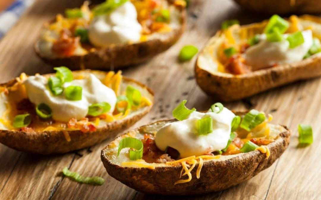 Cheesy Loaded Potato Skins with Bacon