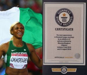 Blessing Okagbare receives Guiness World Record Certificate