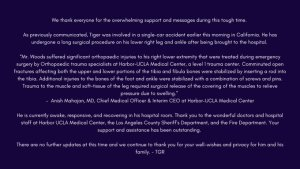 Tiger Woods,awake and recovering,tiger woods golf,tiger woods golf digest, Tiger Woods Now Awake And Responding To Treatment, Relay Vibes
