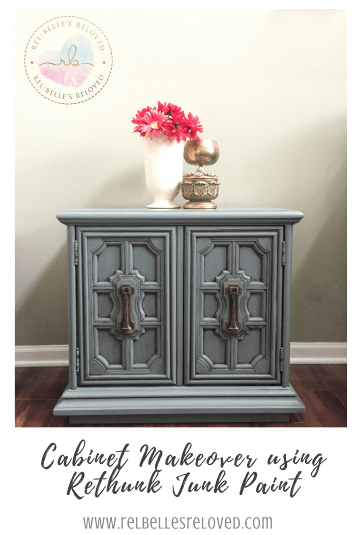 Cabinet Makeover using Rethunk Junk Paint by Laura in Timeless Teal, a limited edition color.