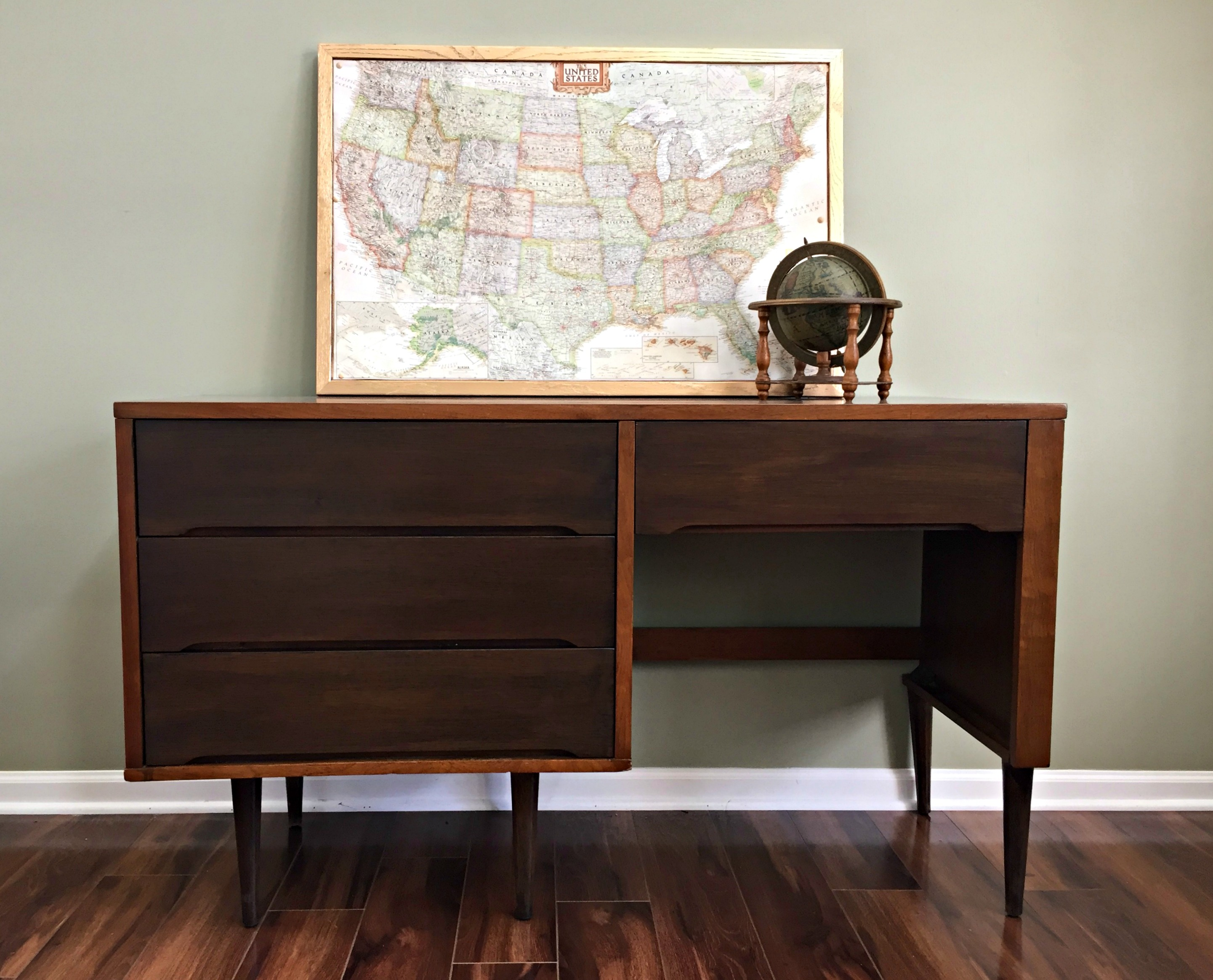 midcentury modern desk twotoned desk