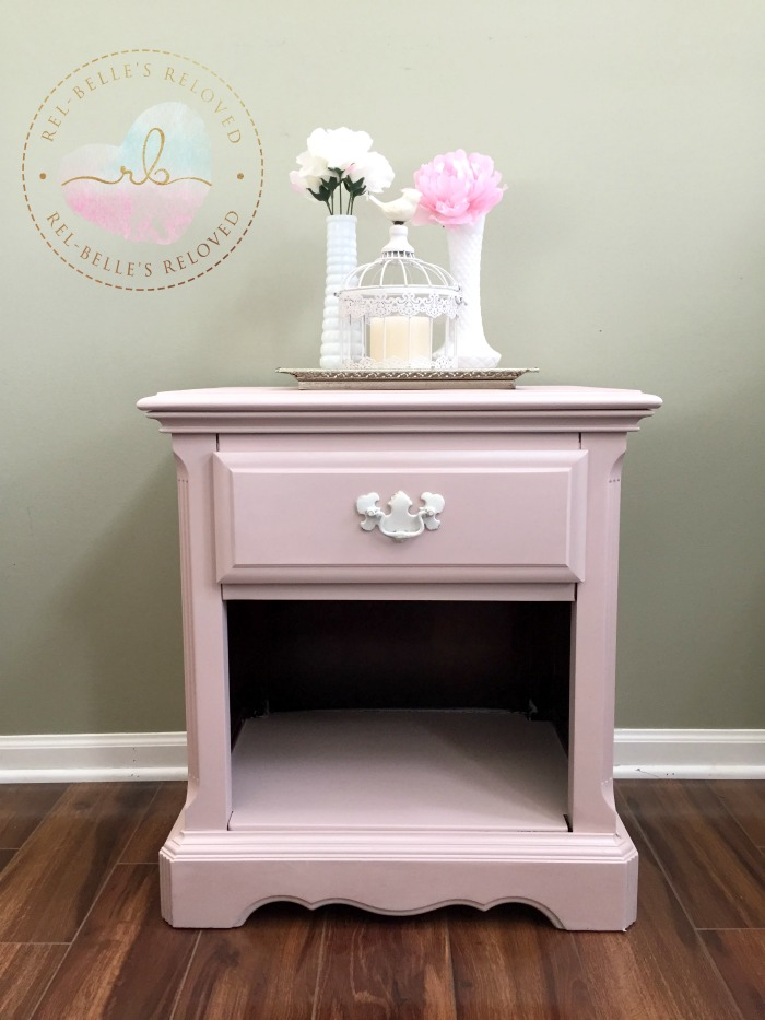 Pretty as pink nighstand transformation using Rethunk Junk by Laura's Tea Rose and Pearl Metallic Glaze.