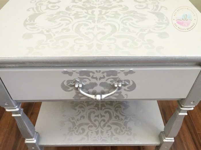 Stenciled details on top, drawer, and bottom