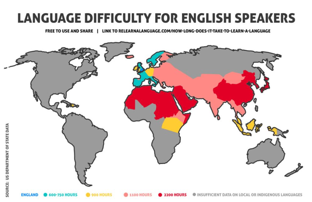 How long does it take to learn a language for English speakers (map)