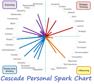 CliftonStrengths 34 theme report in Cascade personal spark chart gallup strengthsfinder