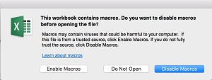 Enable Macros Mac Cascade Excel spreadsheet
