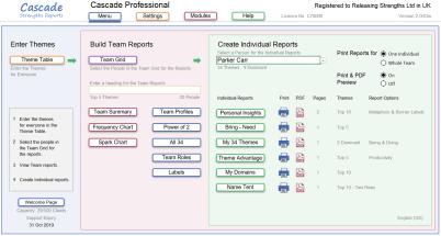 Cascade strengths Home page menu