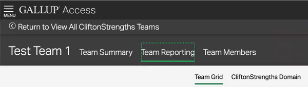 CliftonStrengths Subscription Team Reporting