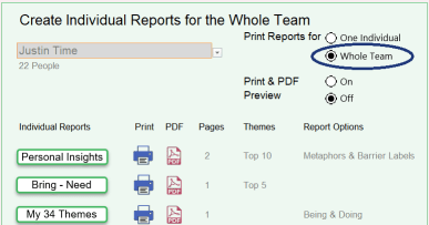 Individual reports for whole team