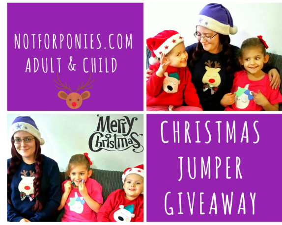 Christmas Jumper Giveaway - Izzy is wearing a red polar bear jumper, Eva is wearing a pink unicorn top & I am wearing a blue reindeer jumper