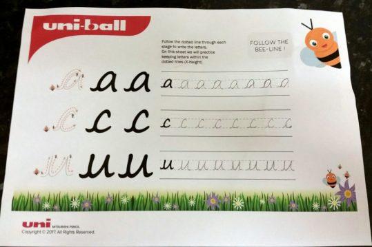 Improving Children's Handwriting with Uni-Ball