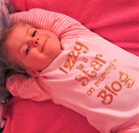 Izzy is a star on mummy's blog pjs