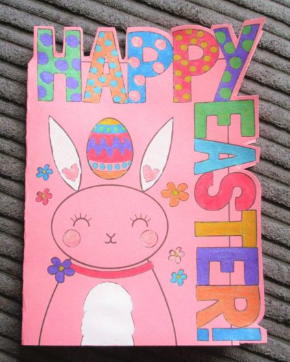 Happ Easter Silhouette Card From Mrs Mactivity Coloured With Posca Pens