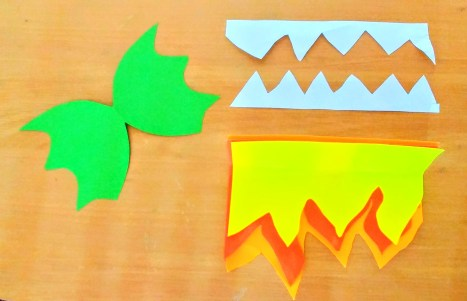 Dragons Ears, Teeth & Flames cut out ready for sticking on to our dragon