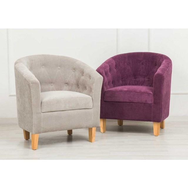 Stylish velvet button back tub chairs