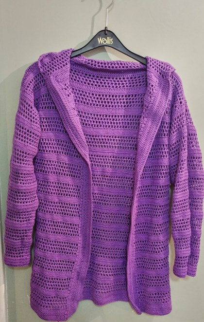 Front of Purple Crocheted summer cardigan