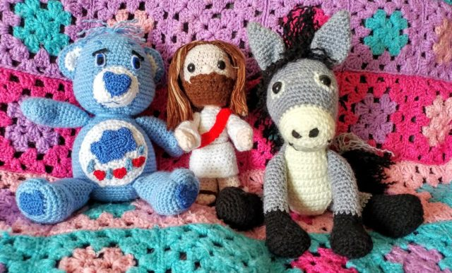 Crocheted Jesus, Donkey And Grumpy Care Bear