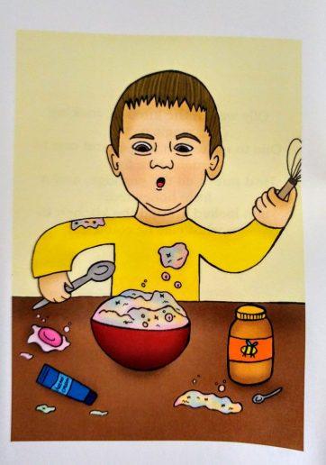 Olly making magic pie