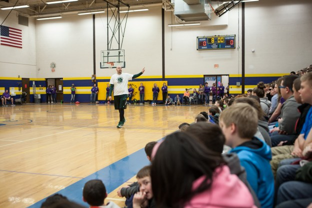 Anthony speaks to kids at Armstrong Middle School