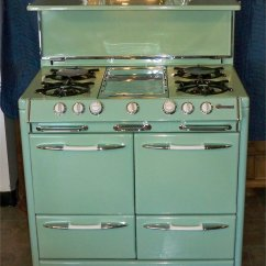 Retro Kitchen Stoves Cherry Wood Cabinets 1951 O Keefe And Merritt Aristocrat Town Country Restored