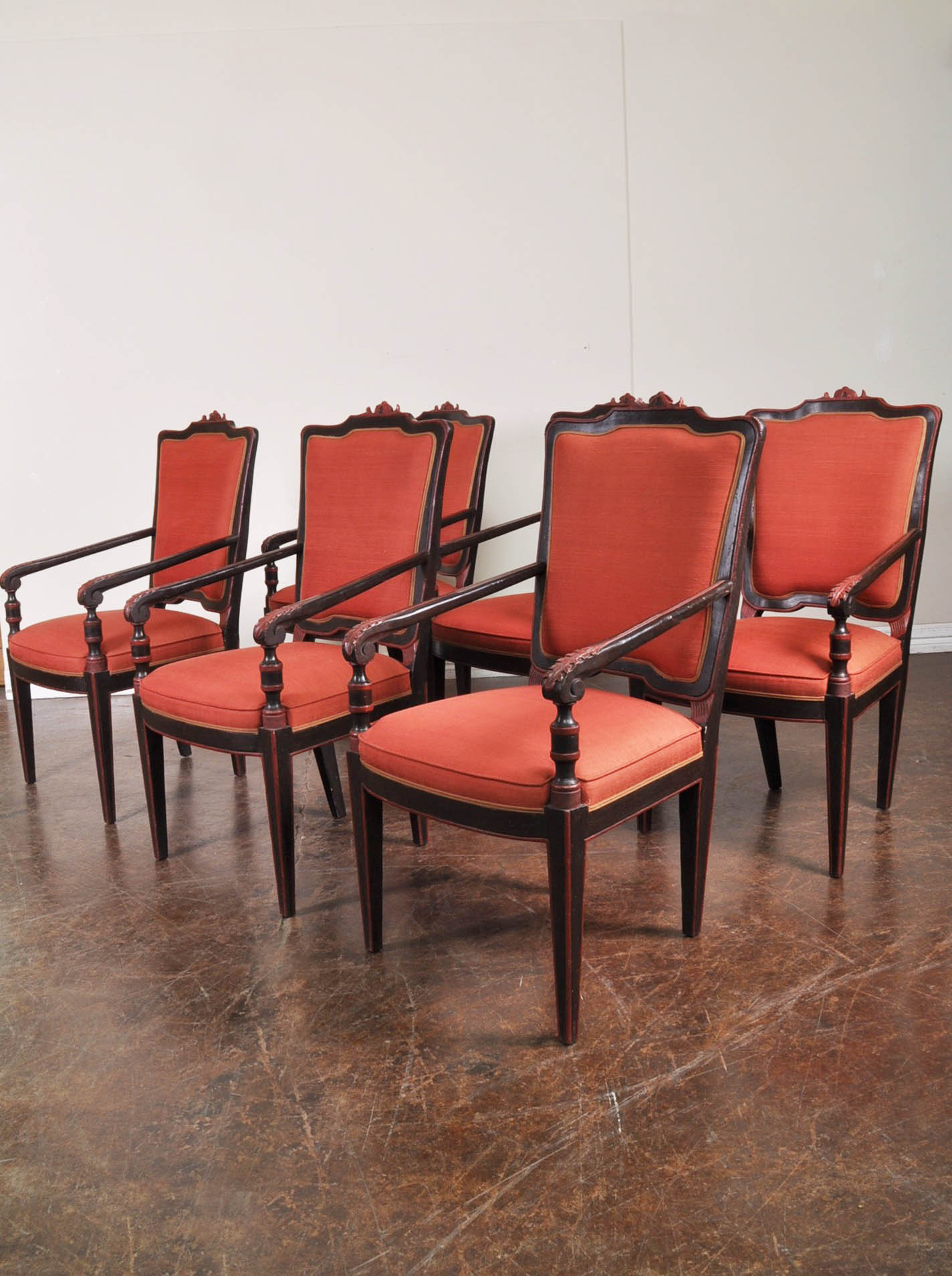 Red Upholstered Dining Chairs Set Of Six Wooden Dining Chairs With Red Upholstered Seats And Backs