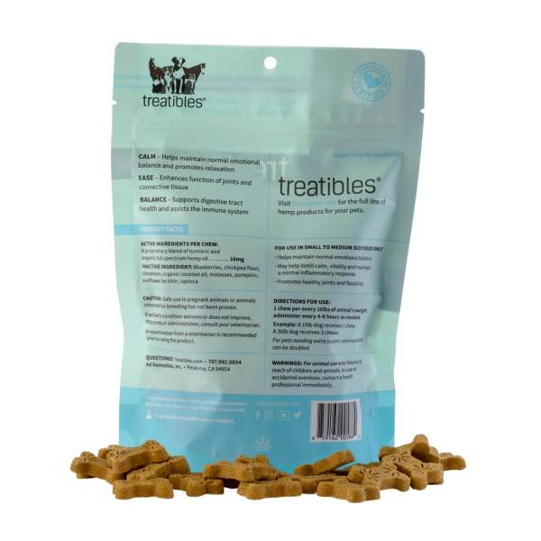 Treatibles Hard Chews Small Dog blueberry label