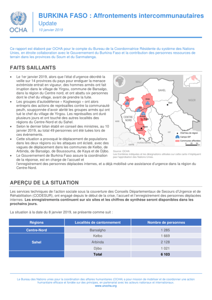 burkina faso affrontements intercommunautaires update 10 janvier 2019 burkina faso reliefweb