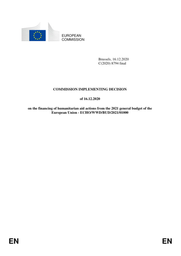 World: Commission Implementing Decision of 16.12.2020 on the financing of humanitarian aid actions from the 2021 general budget of the European Union - ECHO/WWD/BUD/2021/01000