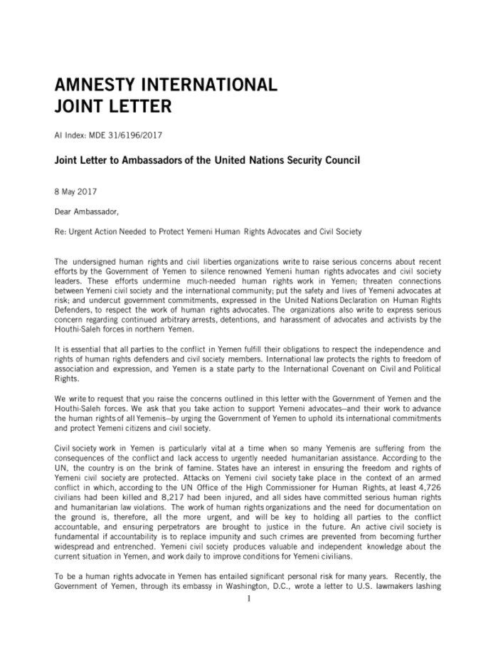 Joint Letter to Ambassadors of the United Nations Security Council  Yemen  ReliefWeb