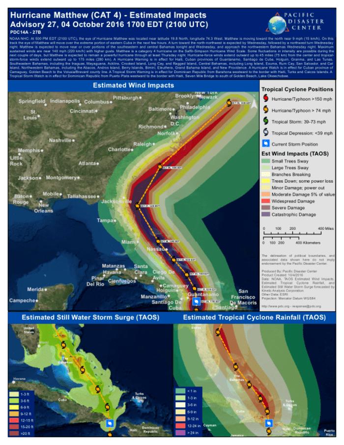 Hurrican Matthew Map : hurrican, matthew, Hurricane, Matthew, Estimated, Impacts, Advisory, October, (2100, Haiti, ReliefWeb