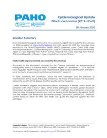 Epidemiological Update - Novel coronavirus (2019-nCoV) - 20 ...