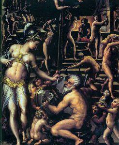 Hefaistos og Athene i gamle dager. Av Giorgio Vasari - Wikimedia Commons