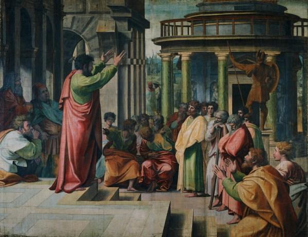 Histoisk har de fleste religionskritikere selv vært religiøse. Paulus kritiserer gresk religion på Areopagos i Athen. Av Rafael år 1515 e.Kr. Kilde: Wikimedia Commons.