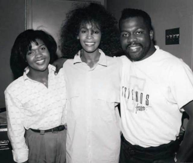 CeCe Winans, Whitney Houston and BeBe Winans in the studio at the recording of