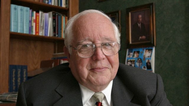 Former Judge Paul Pressler, who played a leading role in wresting control of the Southern Baptist Convention from moderates in 1979, poses for a photo in his home in Houston on May 30, 2004. (AP Photo /Michael Stravato)