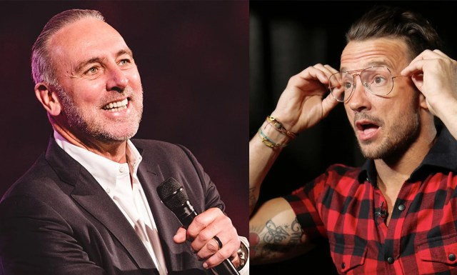 Left: Brian Houston. Image courtesy of hillsong.com Right: In this Oct. 2017 photo, Carl Lentz, a pastor who ministers to thousands at his Hillsong Church in New York, appears during an interview, in New York. (AP Photo/Bebeto Matthews)