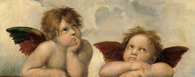 The terrifying cherubim in the Bible bear little resemblance to these adorable creatures, made famous by Raphael in the 16th century. Source: Wikimedia Commons, https://commons.wikimedia.org/wiki/File:Raffaels_Angels.jpg.