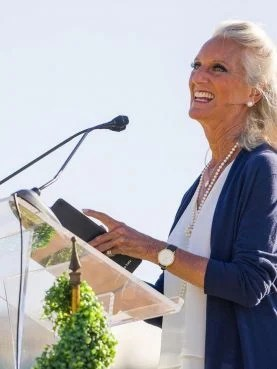 Ann Graham Lotz, daughter of the late Billy Graham, delivers her keynote address at the Fresno-Clovis Prayer Breakfast at Chukchansi Park, May 25, 2021, in Fresno, California. Courtesy photo