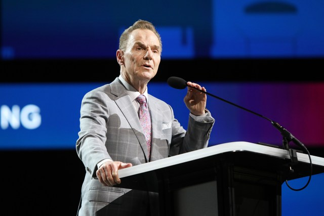 The Rev. Ronnie Floyd, president of the SBC Executive Committee, addresses the annual meeting, Tuesday, June 15, 2021, in Nashville. RNS photo by Kit Doyle