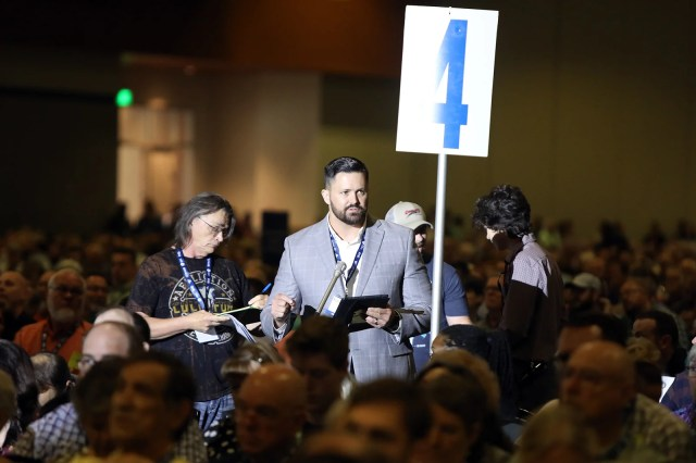 Tennessee pastor and messenger Grant Gaines talks about his proposed task force during the Southern Baptist Convention annual meeting, Wednesday, June 16, 2021, in Nashville. RNS photo by Kit Doyle