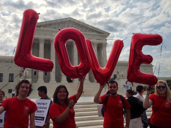 Advocates celebrate the U.S. Supreme Court's marriage equality ruling in 2015. The ruling eventually legalized same-sex marriage in the United States. Photo courtesy of David Salisbury