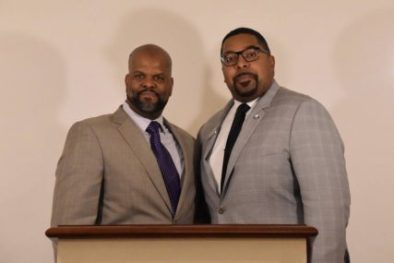 Rev. Emmett Price III, left, and Rev. Kenneth Young pose together for a photo at the kick off event for the Institute for the Study of the Black Christian Experience at Gordon-Conwell Theological Seminary. Photo courtesy of ISBCE Facebook