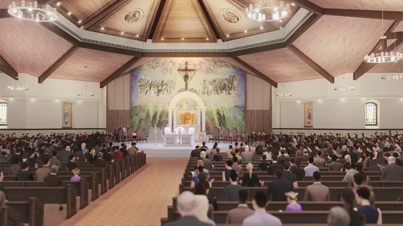 An artistic rendering of the completed St. Charles Borromeo Catholic Church in Visalia, California. Courtesy image
