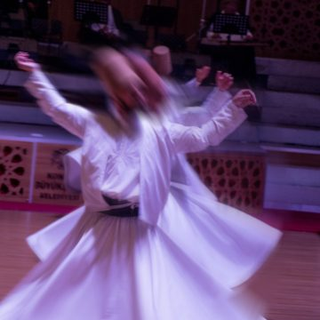 Sufi whirling dervish (Semazen) dances in Konya Turkey.