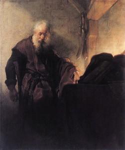 De apostel Paulus aan zijn schrijftafel