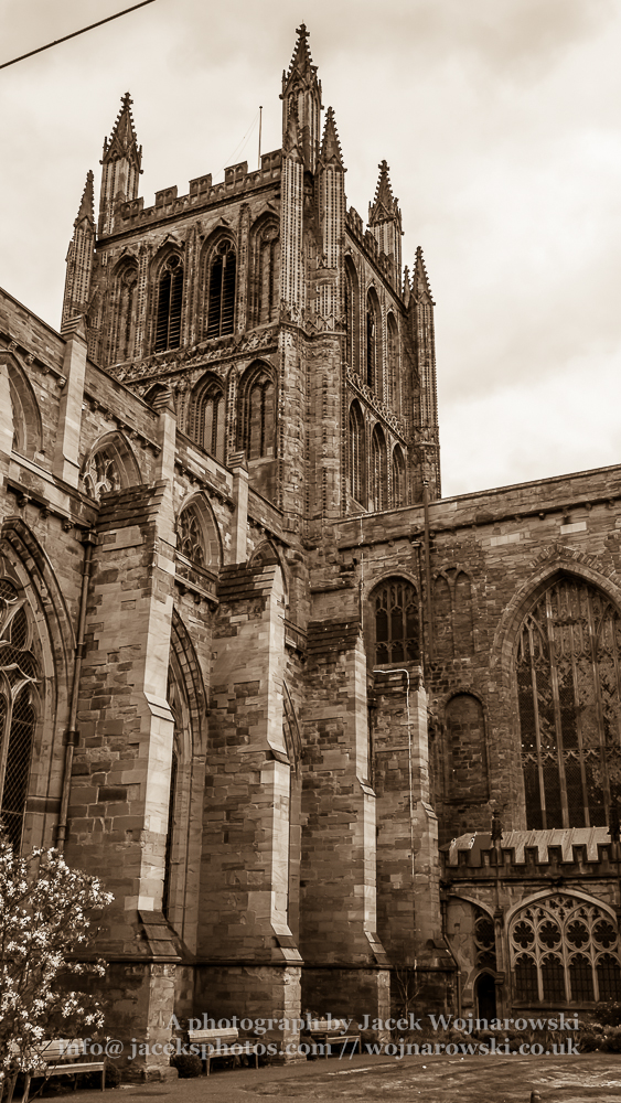 Hereford Cathedral outside view Tower form The Bishops Cloister, sepia tone photography, captured at Hereford, England, UK