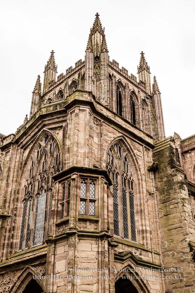 Hereford Cathedral outside view Tower and North Porch, art photography, captured at Hereford, England, UK