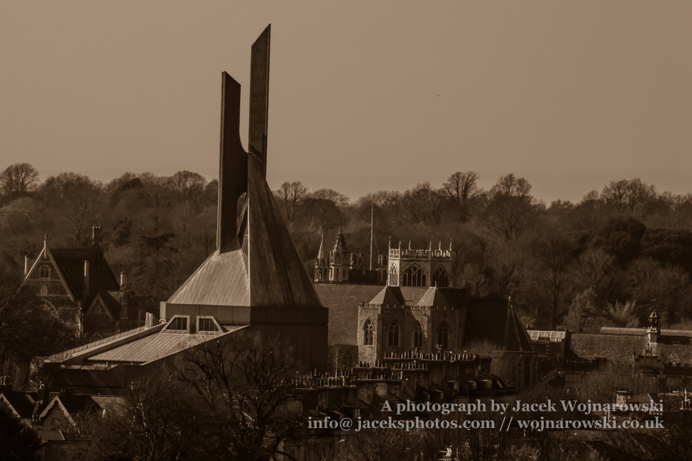 Clifton Cathedral outdoor view from Cabot Tower, Bristol, England, UK, sepia tone