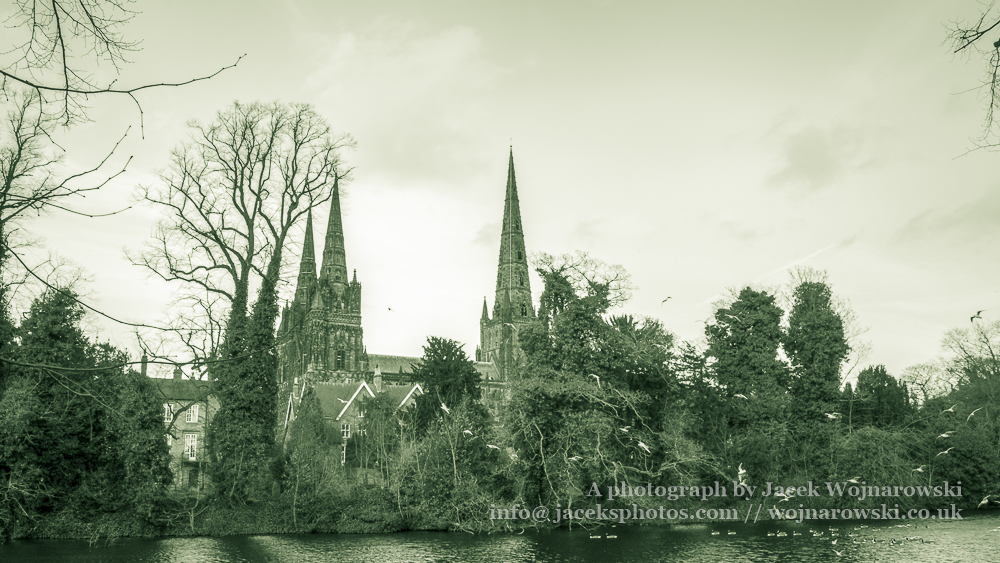 Lichfield Cathedral view from Minster Pool, HDR black and white photography, split toning
